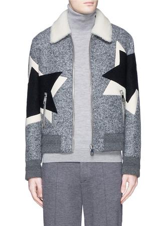 Pop art star shearling collar aviator jacket