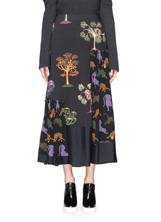 Psychedelic tree print crepe maxi skirt