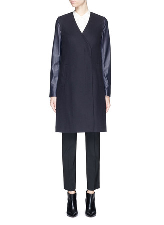 'Quennel' detachable leather sleeve compact wool coat