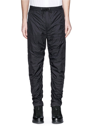 Quilted drawstring nylon trackpants