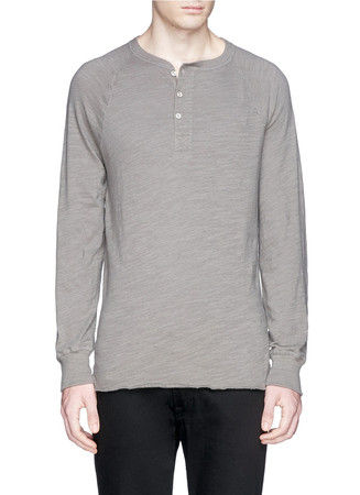 Raglan cotton Henley shirt