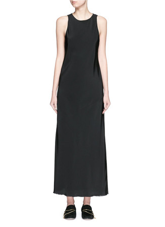 Raw edge hem bias crepe dress