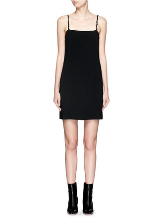 Raw edge strap stretch crepe dress