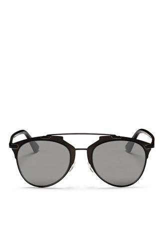 'Reflected' acetate temple metal veneer aviator sunglasses