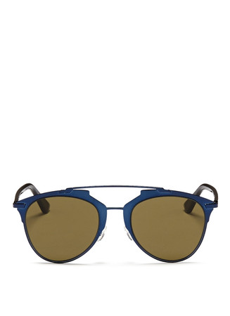 'Reflected' acetate temple metal veneer aviator sunglasses