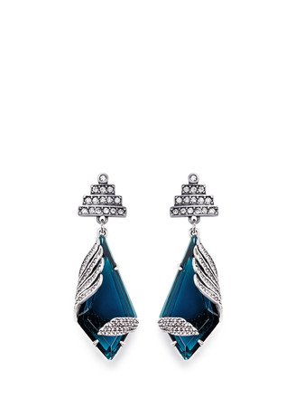 'Reflection' pavé Montana glass crystal drop earrings