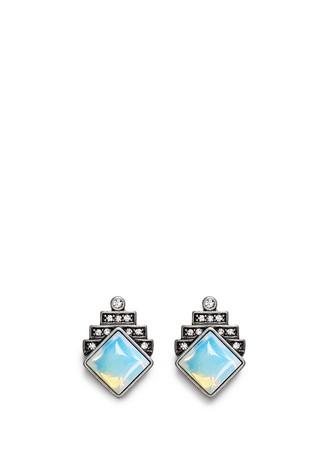 'Reflection' pavé opal stud earrings