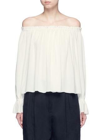 'Remi' off-shoulder sheer crepe top
