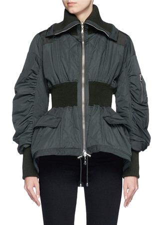 Reversible rib waist puffer jacket