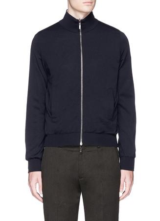Reversible zip front blouson jacket