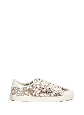 'Rhea' embroidered leather sneakers