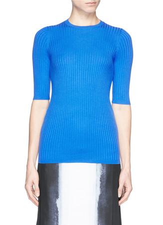 Rib knit mid sleeve sweater