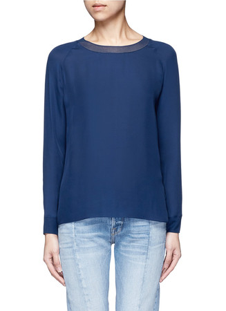 Ribbed trim silk georgette blouse