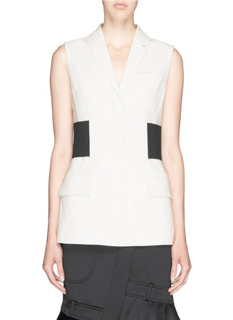 Ribbed waistband tailored crepe vest
