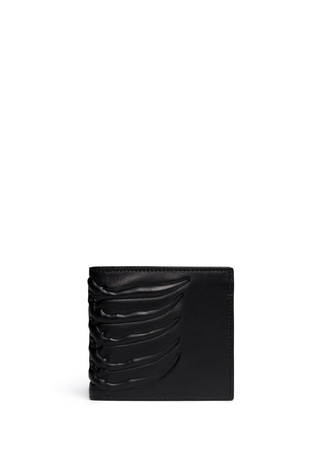 Ribcage embossed leather bi-fold wallet