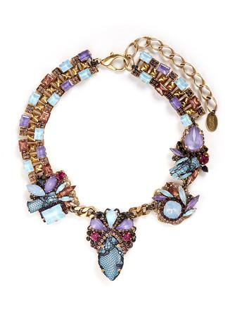 'Ripple Cascade' stud lace Swarovski crystal necklace