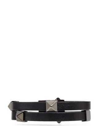 'Rockstud' double strap leather bracelet