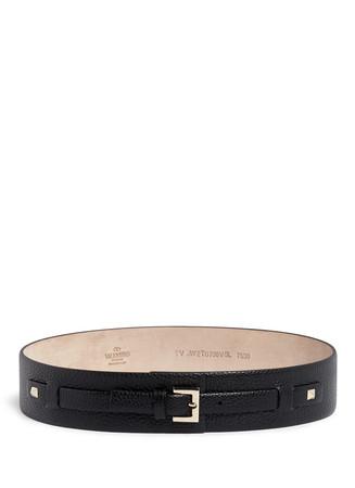 'Rockstud' grain leather wide belt