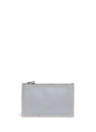'Rockstud' large leather flat zip pouch