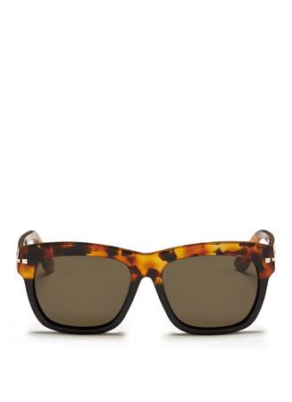 'Rockstud' tortoiseshell brow bar acetate sunglasses