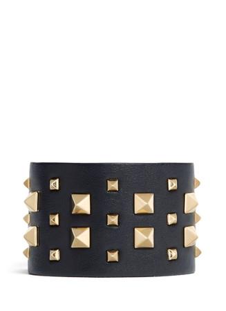 'Rockstud' wide leather bracelet