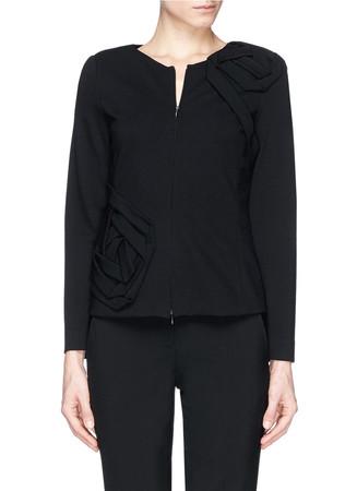 Rose appliqué ponte knit zip jacket