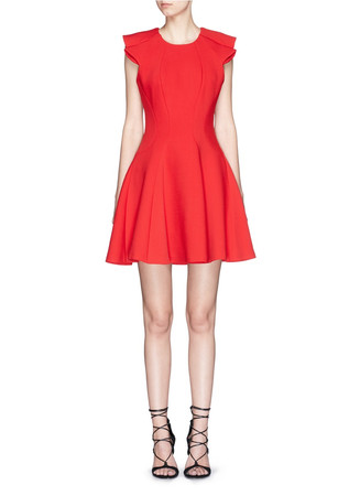 Ruffle sleeve bonded jersey dress
