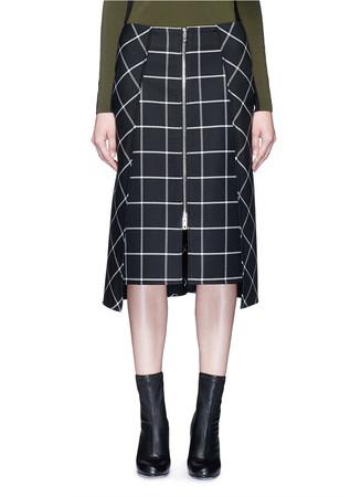 'Sabina' windowpane check midi pencil skirt
