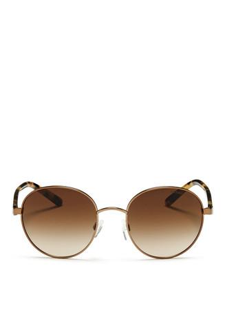 'Sadie III' tortoiseshell acetate temple round sunglasses