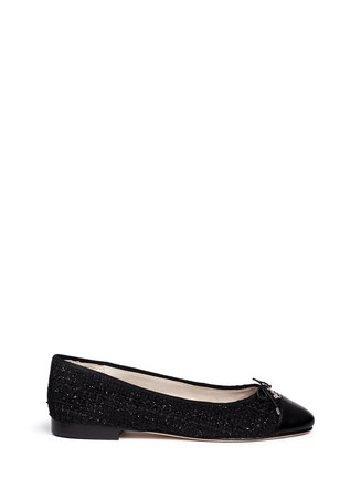 'Sara' leather toe cap bouclé tweed flats