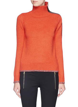 'Sarah' cashmere-wool side zip turtleneck sweater