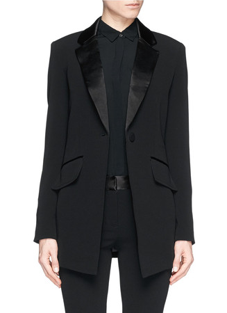 Satin lapel stretch crepe smoking jacket