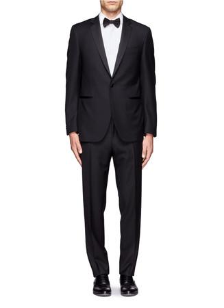 Satin lapel wool tuxedo suit