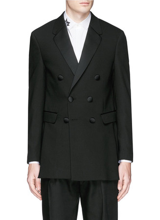 Satin notch lapel skinny fit tuxedo blazer