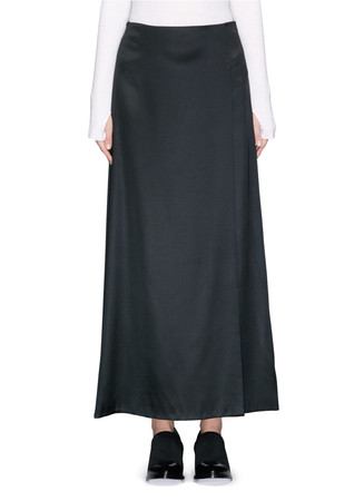 Satin twill overlap maxi skirt