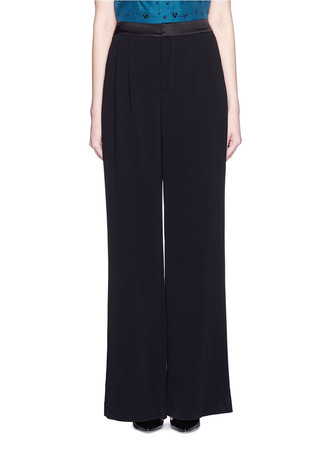 Satin waistband double pleat crepe pants