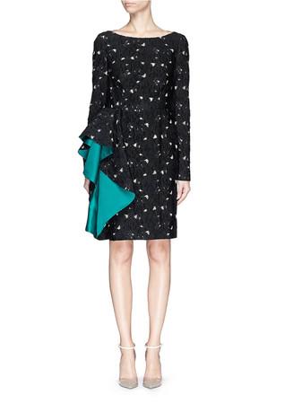 Satin waterfall ruffle floral fil coupé dress