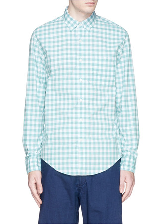 Secret wash shirt in light turquoise gingham