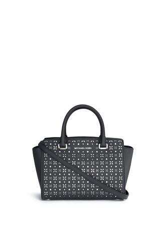 'Selma' medium perforated leather satchel