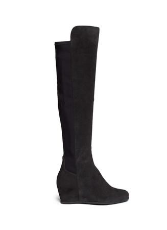 'Semi' elastic back suede wedge boots