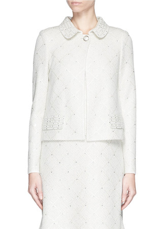 Sequin paillette bead appliqué tweed knit jacket