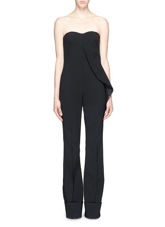 Sequin ruffle stretch wool jumpsuit