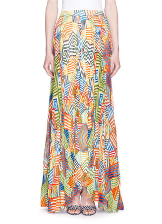 'Shannon' multi stripe pleat maxi skirt
