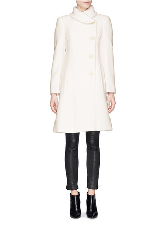 Shawl collar wool-cashmere blend coat