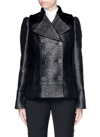 Shearling collar embossed rose jacquard jacket