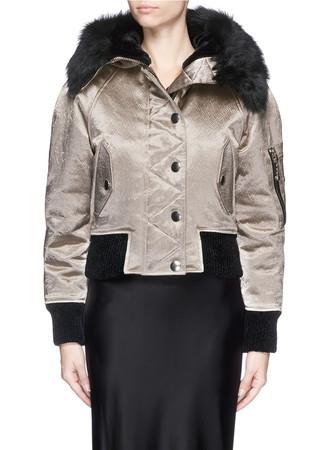 Shearling hood velvet trim bomber jacket
