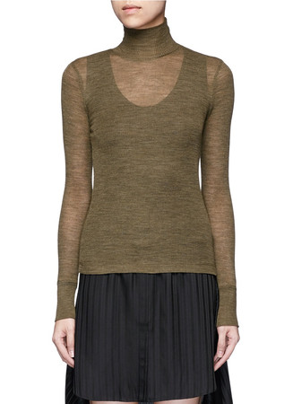 Sheer wool turtleneck rib knit top