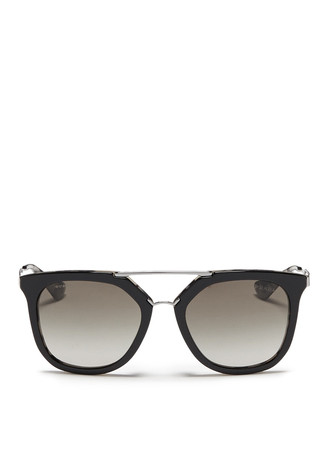 Shell effect acetate angular sunglasses