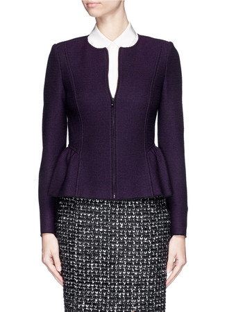 Shirred peplum textured knit zip jacket