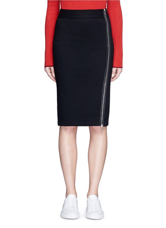 Side zip double knit track skirt
